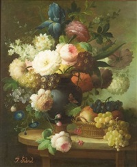 still life with flowers and grapes by isabelle gabriel