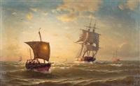 schiffe beim galloper .....in der nordsee by julius huth