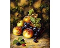 a still life of fruit on a mossy bank (+ a still life of fruit on a mossy bank; pair) by john smith