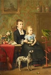 der vortrag - junge frau mit tochter einem grünen papageien zuhörend by françois jacobs