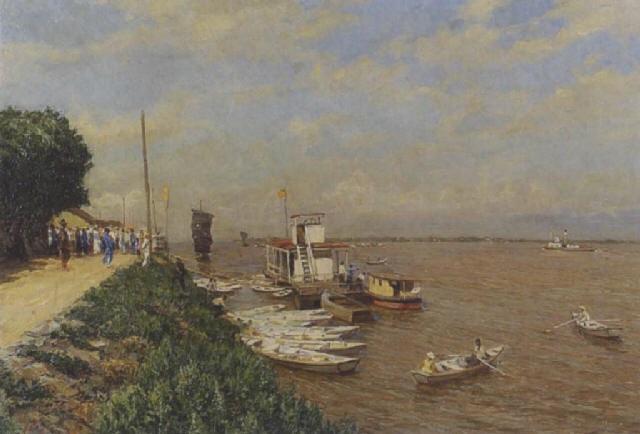 schiffsanlegestelle an einem fluss by serguei ivanovitch lobanoff