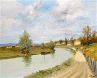 rivière à autun, bourgogne by marcel dyf