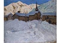 dorf im schnee by alfred swieykowski
