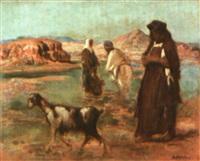 femmes arabes dans un oued by louis-ferdinand antoni