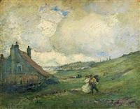 paysage, maisons en bord de mer by augustus koopman