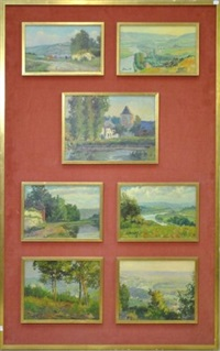 paysages namurois (7 works, various sizes) by albert dandoy