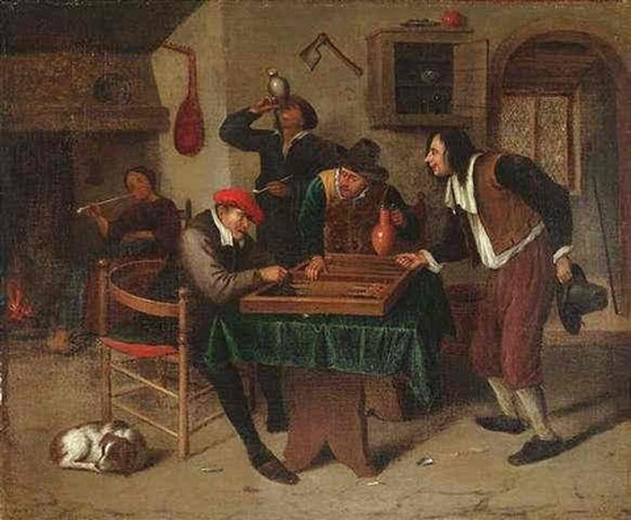 Steen In Interieur : Wirtshausinterieur mit bauern beim triktrakspiel by jan steen on artnet