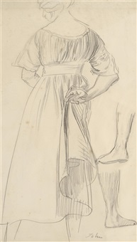 study of a woman from behind by augustus edwin john