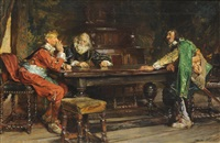 gentlemen seated in discussion around a table by edgar bundy