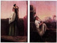 femme pensive sur la terrasse (+ musicien sur la terrasse; 2 works) by charles camarroque