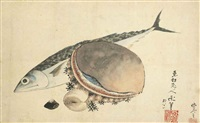 mackerel and sea shells by katsushika hokusai