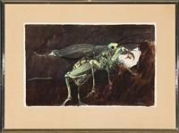 woman and grasshopper by hans henrik lerfeldt