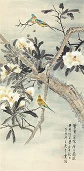 玉兰鹦鹉 立轴 纸本 by wu qingxia