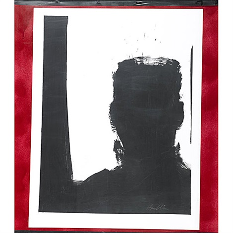 untitled (shadow head/red)(+ another, smllr; 2 works) by richard hambleton