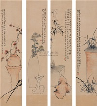 plum blossoms, orchid, bamboo and chrysanthemum (4 works) by jiang baoling