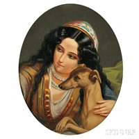 orientalist woman with a dog by george g. fish