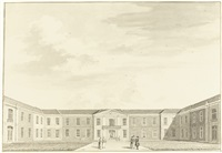two views of the oude-mannen-huis, amsterdam by hendricus spilman