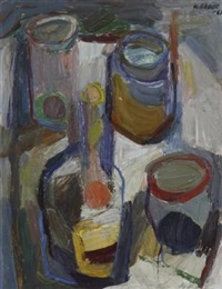 still life with bottles by may (mary ellen) hillhouse