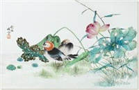 粉彩花鸟纹瓷板 (porcelain panel with flowers and birds pattern) by liu yucen