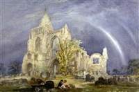 a couple picnicking by crowland abbey, peterborough, with a rainbow in the sky by mary weatherill