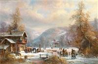 kenzer_fr. janez winterliches gebirgsdorf mit reicher figurenstaffage by janez kenzer