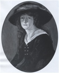 portrait of a young woman wearing a blue dress and fur-trimmed hat by george charles aid