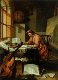 der gelehrte in seinem studierzimmer by hendrik heerschop