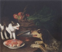 a fight for dinner by giuseppe de hegris