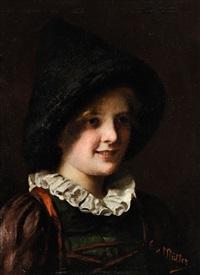 portrait eines mädchens in tracht by emma (edle von seehof) müller