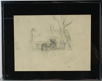 horse drawn buggy by edmond verstraeten