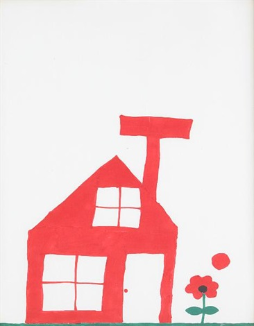 untitled red house with flower by christopher knowles