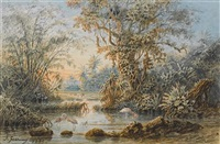 a venuzuelan river landscape with flamingos by anton goering