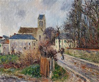 l'eglise d'auvers-sur-oise, temps gris by gustave loiseau