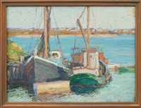 fishing boats at dock by george a. renouard