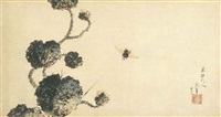 horsefly and prickly water lily by katsushika hokusai