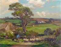 dales scene with shepherd and flock in the foreground by owen bowen