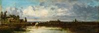 weite landschaft mit kühen by leon victor dupré