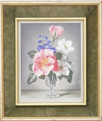 pink white and blue flowers in glass by james noble