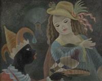 flicka och harlekin med fågelbur by arthur percy