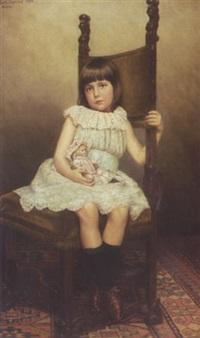 kleines mädchen mit puppe (erste modellsitzung) by carl johann spielter
