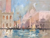 a view of the doge's palace and entrance to st. mark's square, venice, at sunset by hercules brabazon brabazon