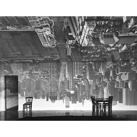 camera obscura image of a manhattan view looking south in large room by abelardo morell