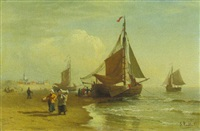 fischerboote am strand by julius huth