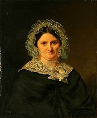 portrait of a lady in a black dress by niels peter holbech