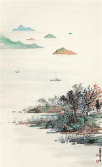 太湖帆影 (taihu sails) by wu lifu