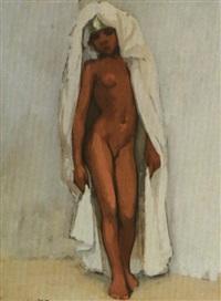 jeune femme nue au voile blanc by marcel vicaire
