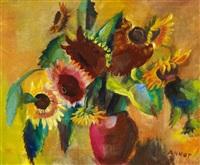 sonnenblumen in roter vase by annot (anna ottonie) jacobi
