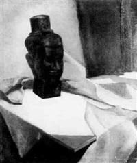 still life with head of buddah by walter alexander bailey