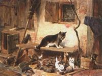 katze mit vier jungen vor bauernhaus by julius adam the elder