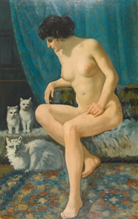 weiblicher akt mit katzen by william-victor aubert